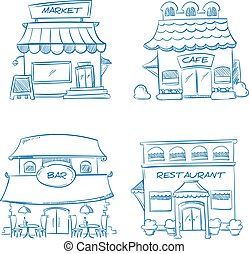 Hand drawn store, shop, restaurant, cafe, bar buildings. Vector doodle collection