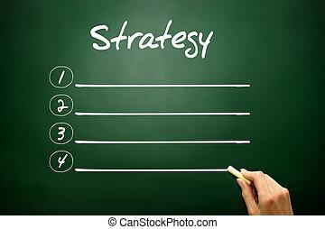 Hand drawn STRATEGY blank list concept on blackboard