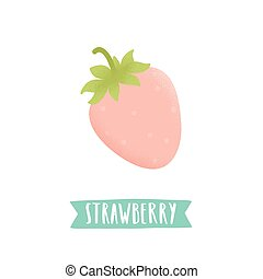 Hand drawn strawberry isolated on white.