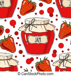 Hand drawn strawberry jam jars seamless pattern