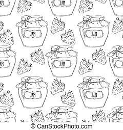 Hand drawn strawberry jam jars seamless pattern