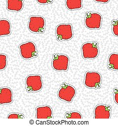 Hand drawn strawberry patch icon seamless pattern