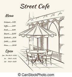 Hand drawn street cafe background