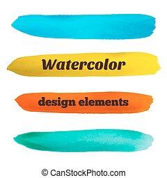 Hand drawn stripes.  Watercolor design elements