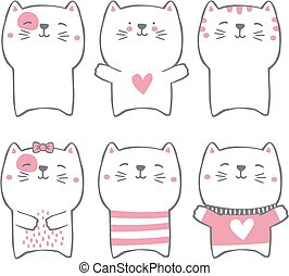 hand drawn style cute cats
