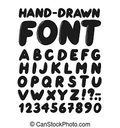 Hand-drawn style font set