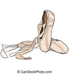 Hand-drawn style pointe shoes. EPS8 vector