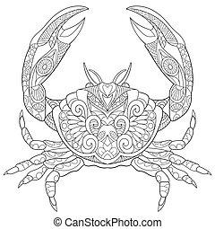 Hand drawn stylized crab