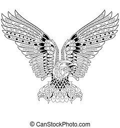 Hand drawn stylized eagle