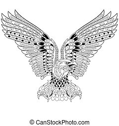 Hand drawn stylized cartoon eagle, isolated on white background. Sketch for adult antistress coloring book pages, T-shirt emblem, logo or tattoo with design elements.