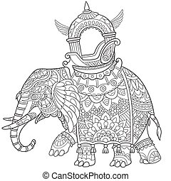 Hand drawn stylized elephant