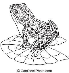 Hand drawn stylized frog