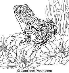 Hand drawn stylized frog - Hand drawn stylized cartoon frog...