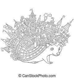 Hand drawn stylized hedgehog - Hand drawn stylized cartoon...