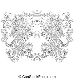 Hand drawn stylized lions and crown