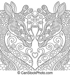 Hand drawn stylized lovely giraffes - Hand drawn stylized...
