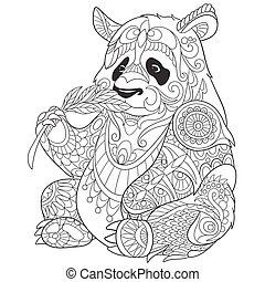 Hand drawn stylized panda