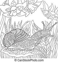 Hand drawn stylized snail - Hand drawn stylized cartoon...