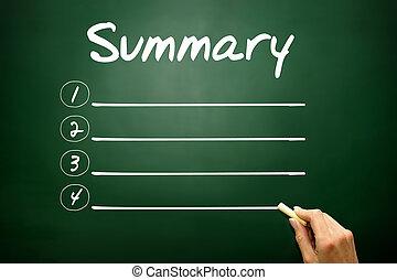 Hand drawn SUMMARY blank list, business concept on ...