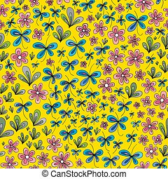 Hand drawn summer floral pattern. Vector abstract nature seamless background.