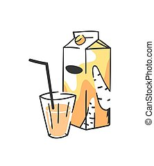 Hand drawn summer set of juice pack and glass. Vector artistic illustration carrot drinks
