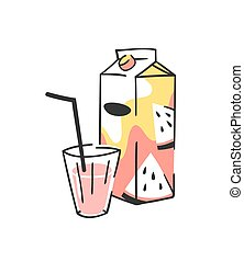 Hand drawn summer set of juice pack and glass. Vector artistic illustration watermelon drinks