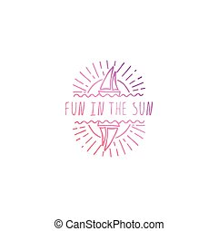 Hand Drawn Summer Slogan Isolated on White. Fun in the Sun