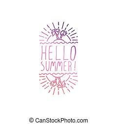 Hand Drawn Summer Slogan Isolated on White. Hello Summer