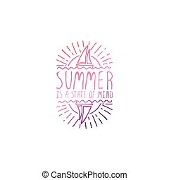 Hand Drawn Summer Slogan Isolated on White. Summer is a...
