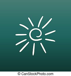 Hand drawn sun icon. Vector illustration on green background.