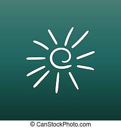 Hand drawn sun icon. Vector illustration on green background.