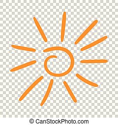 Hand drawn sun icon. Vector illustration on isolated background.