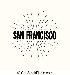 Hand drawn sunburst vector - san francisco.