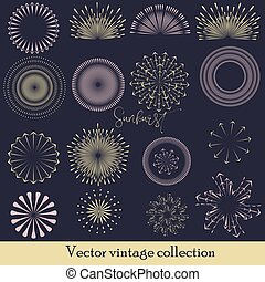 Hand drawn sunburst, vintage radial burst, abstract line sunshine vector collection