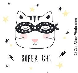 Hand drawn Super Cat. Children print.