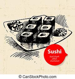 Hand drawn sushi illustration. Sketch background