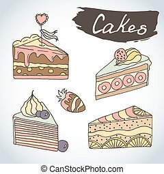 Hand drawn sweet cakes set. Bakery vector elements sketch. Excellent for creating your own menu design.
