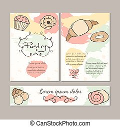 Hand drawn sweet pastry colorful template set.