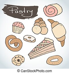 Hand drawn sweet pastry set. Bakery vector elements sketch. Excellent for creating your own menu design.