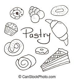 Hand drawn sweet pastry set. Bakery vector elements sketch.