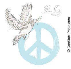 Hand drawn symbol peace dove texture background EPS10 file....