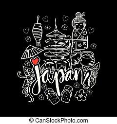 Hand Drawn Symbols Of Japan.