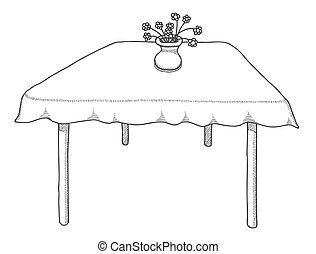 Hand drawn table, vector illustration