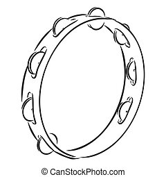 Hand Drawn Tambourine Sketch Symbol. Vector Timbrel Element In Trendy Style.