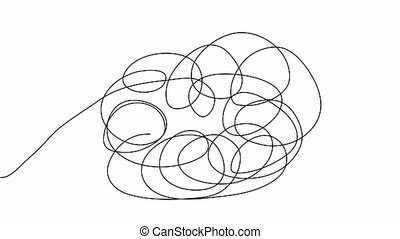Hand drawn tangle scrawl sketch or black line spherical abstract scribble shape. Tangled chaotic doodle circle drawing circles or thread clew knot