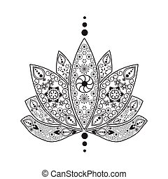 Hand drawn tattoo element Henna  indian Lotus