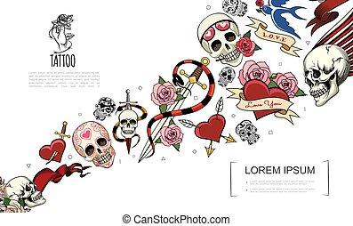 Hand Drawn Tattoo Elements Concept