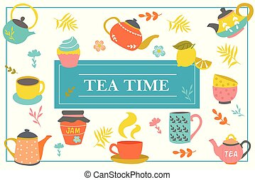 Hand Drawn Tea Time Colorful Template