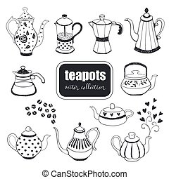 hand drawn teapots collection