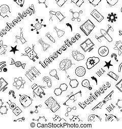 Hand Drawn Technology Innovations Seamless Pattern